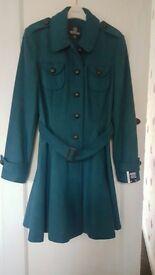 Brand new turquoise green coat