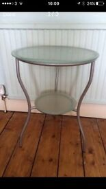 Round pale green & silver glass side table