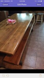 Pine trestle table and benches