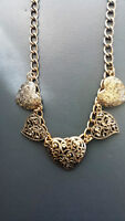 Golden Intricate Hearts Necklace