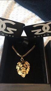 Gold Gods: lion head necklace