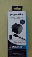 DIGIPOWER IS-AC2L InstaSense(TM) 2.4-Amp Single USB Wall Charger