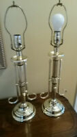 Pair of Brass Lamps without shades