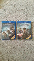 Harry Potter Deathly Hallows Blue Ray DVD 1 & 2 both 3D