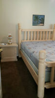 Queen Solid Wood Bedframe with Mattress & Boxspring