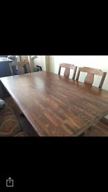 Very good quality large family table plus 6 chairs excellent condition £80