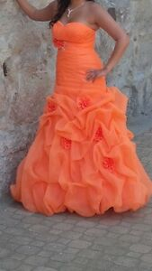 Beautiful Tangerine Grad Gown - Size 8