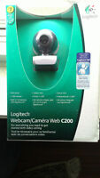Logitech C200 Web Cam Brand New In Box Snapshot button Chat Live