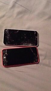 2 broken iPhone 5c's