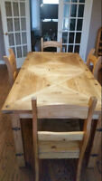 Stressed Pine Harvest table & 4 chairs
