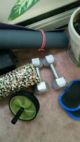 15 lb Weights, Ab roller, Sliders, Foam Roller, Yoga Mat
