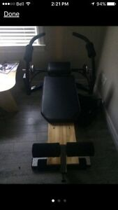 Sit-up bench with weights exercise/workout