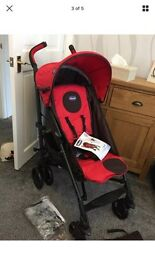 New Chicco Liteway Red Pushchair + Footmuff & Raincover