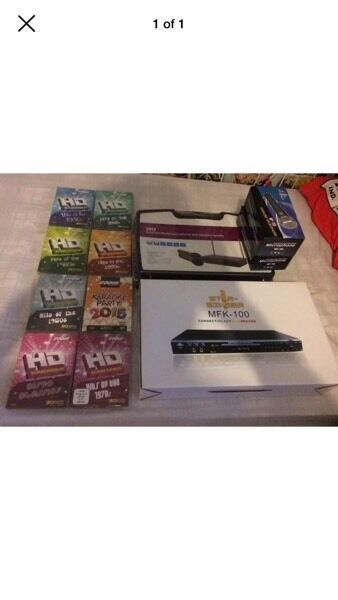 Star singer mfk100 2 cordless microphones 8 music dvds brand new was £170
