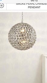 (Brand new in box) smoke pearl chandelier pendant light