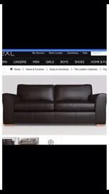 **REDUCED** NEXT 2 and 3 seater black leather couch