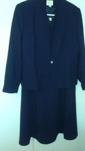 "Elegant dark blue silky jacket/dress set ""Tradition""Size 16 XL"