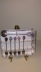 6 Demi-tasse Spoons Possibly Silver with Stones on top