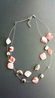 Double strand Pink stones and silver bead necklace