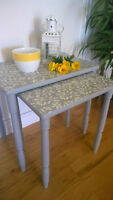 Adorable Nesting Tables ! Paris Grey and Old White