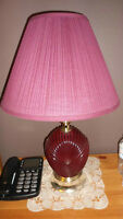 Burgandy Ceramic Table Lamps with Shades