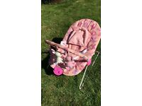 Pink bouncer with newborn insert, vibrate & music