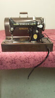 Antique SINGER Portable Electric Sewing Machine with Wooden Case