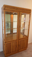 Solid Oak China Cabinet & Oak Table & Chairs