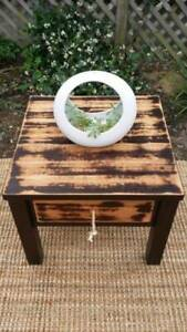 Distressed Timber Coffee Side Bedside Table W Drawer