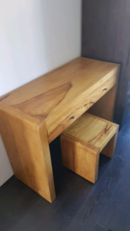 Solid Timber Desk With A Matching Chair Stool