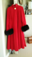 Vintage Cashmere/wool swing coat with fur cuffs