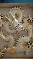 Chinese golden dragon wood curving painting or picture