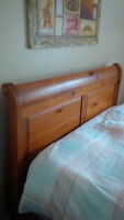 Solid pine, queen size, sleigh bed