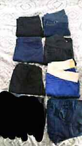 8 pairs of size small maternity pants and 3 maternity shirts
