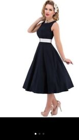 Navy Audrey Dress with Elasticated Belt