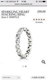 Pandora sparkling heart stacking ring