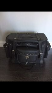 Motorcycle Leather Travel T-Bag, 2 Bag Combo
