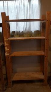 Wooden freestanding shelving rack