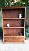 Solid Teak Bookcase Shelf W Drawers Large Distressed Rustic Coogee Eastern Suburbs Preview