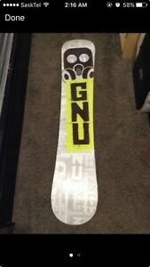 Gnu carbon high beam snowboard.