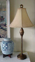 "30"" Tall Arts and Crafts Table Lamp Brass with Dark Beige Shade"