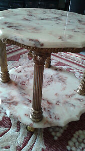 Marble top round table set