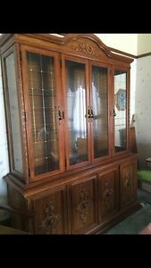 Solid Oak Dining Table, Chairs and Hutch Set London Ontario image 2