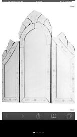 Venetian dressing table mirror, fold in sides. Excellent condition, ex display.