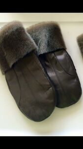 Leather and Seal trimmed winter mittens