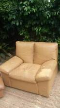 Vintage Tan Leather Single Seater Armchair & Matching Ottoman Coogee Eastern Suburbs Preview