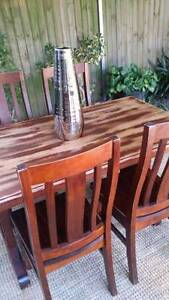 Vintage Solid Oak Dining Table And Four Chairs Distressed Finish Coogee Eastern Suburbs Preview