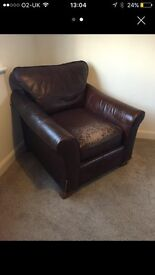 Shabby chic brown leather chair