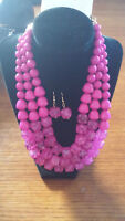 Pink Crystal Bead Necklace with Earrings
