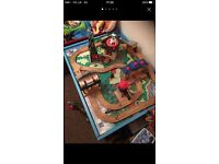Wooden Thomas train table, storage stool and toy box